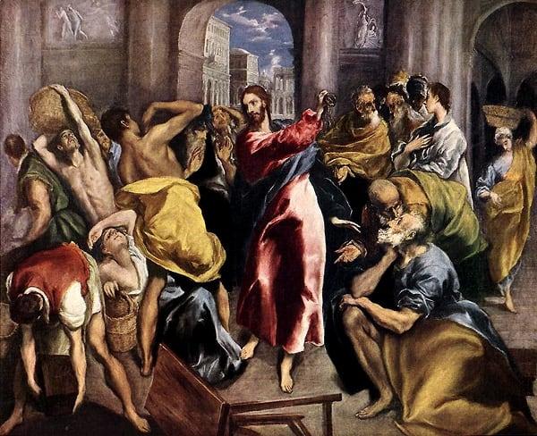 La expulsión de los mercaderes del templo (hacia 1600), de El Greco. Óleo sobre lienzo.