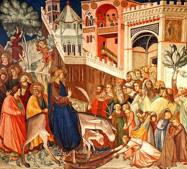 Cristo entrando en Jerusalén (1320-1330), fresco de Pietro Lorenzetti.